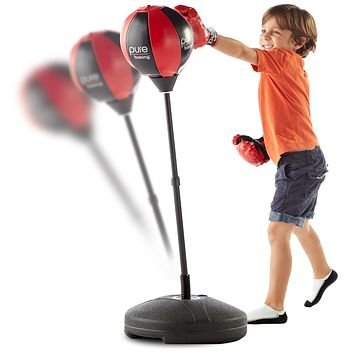 Pure Boxing Punch and Play Punching Bag for Kids - Red, ages 3 to 7