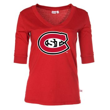 Official NCAA St. Cloud State Huskies - Women's 3/4 Sleeve Football V-Neck Tee