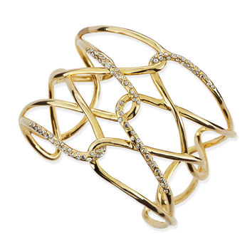 Yellow Golden & Crystal Crisscross Barbed Cuff - Alexis Bittar