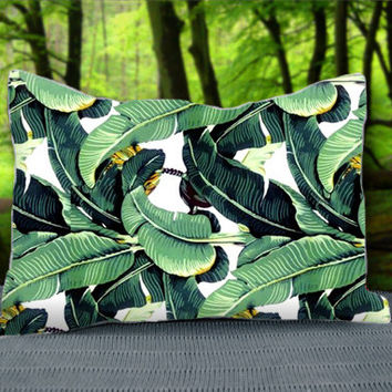 "Cute Tropical Banana Leaf Pattern Custom Pillow Case 30"" x 20"""