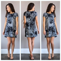 A Midnight Marbled Tee Dress