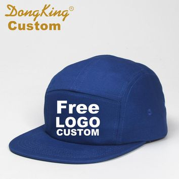 DongKing Custom 5 Panels Baseball Caps Snapback Hat Free Text Embroidery Logo Print Cotton Cap Adult Adjustable Personalized Hat