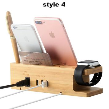 15W 3A 3Port USB Charger for Apple iwatch Phone Organizer Stand Cradle Holder Bamboo Wood Charging Station for iwatch Stand Hold