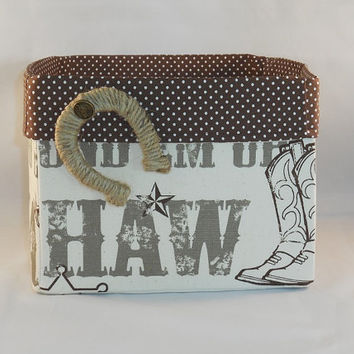 Western Themed Brown And Cream Fabric Basket With Detachable Horseshoe Pin For Storage Or Gift Giving