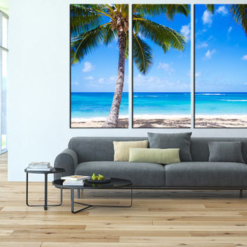 palm beach canvas art print, sea wall art, wall decor waves canvas, extra large wall art, lanscape canvas print, seaside canvas art t145