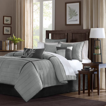 Madison Park Meyers Grey 7-piece Solid Casual Pattern Comforter Set | Overstock.com Shopping - The Best Deals on Comforter Sets