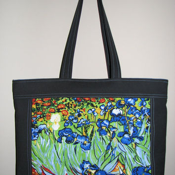 Quilted Tote Bag , Cotton Canvas Purse , Vincent Van Gogh Irises , Floral Tote Bag