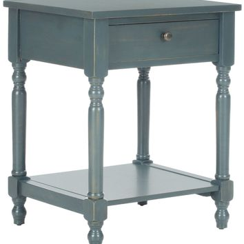 Tami Accent Table With Storage Drawer Steel Teal