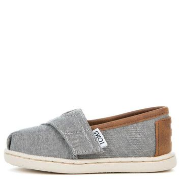 VONE5FW Tiny Toms Classic Frost Grey Chambray Flats