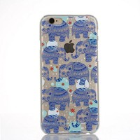 Originality Blue Elephant Lace iPhone 6 6s Case Ultrathin Transparent Cover Gift-170928