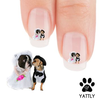 "Boston Terrier ""Happy Doggy Marriage!"" Nail Art Decals( NOW 50% MORE FREE)"