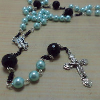 Psychobilly, Rockabilly, Pin Up Girl, Goth, Retro, Vintage Inspired, Blue, Pearl, Glass Bead, Long, Rosary