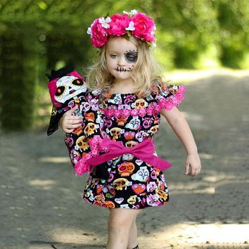Toddler Baby Girls Cartoon Pumpkin Dress Off Shoulder Ruffles made of high quality materials Halloween Clothes 35