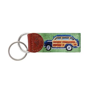 Woody Needlepoint Key Fob in Moss by Smathers & Branson