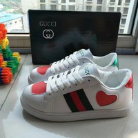 """""""GUCCI"""" Women Personality Casual Multicolor Heart-shaped Small White Shoes Plate Shoes Sneakers"""
