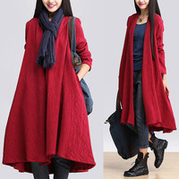 women  cotton linen  coat cotton jacket Trench Coat Outwear winter coat