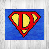 Superman Custom Painting - Marvel - Comics - Avengers - Red - Gold - Blue - Nursery - Initials