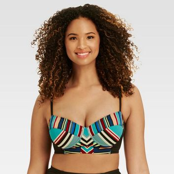 Beach Betty™ by Miracle Brands Women's Striped Slimming Control Deco Print Longline Bikini - Multi-Colored