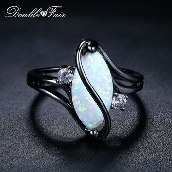 Double Fair Wrap Oval Opal Ring For Women  Black Gold Color Punk Style Women's Rings Gift Vintage Jewelry Drop Shipping DFR642