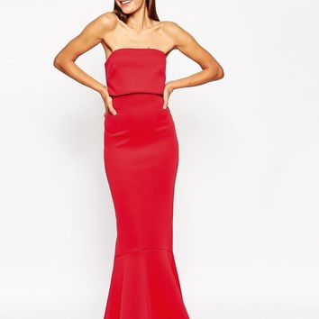 ASOS | ASOS Extreme Fold Fishtail Bandeau Scuba Maxi Dress at ASOS