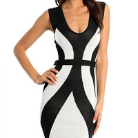 Black and White Sleeveless Bodycon Dress