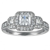 1 1/3ct tw Diamond Engagement Ring in 14K White Gold - Designer Prototypes - Engagement Rings