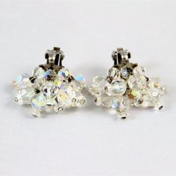 Vintage AB crystal earrings dangle clusters signed Laguna bicone faceted crystals silver clips bridal retro glam Great Gatsby sparkling
