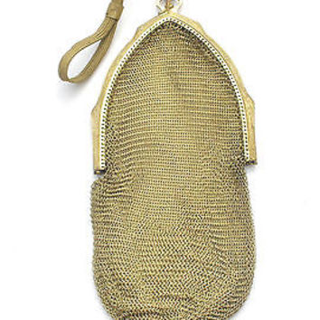 Art Deco Whiting & Davis Purse Flapper Gold Mesh Tear Drop Frame Antique Signed