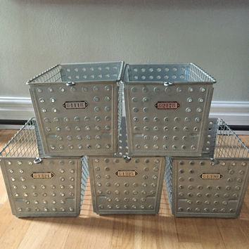 Vintage Wire Metal Basket Bin Storage Locker