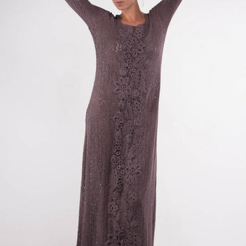 Crochet mocha dress KNIT maxi Dress irish lace viscose Dress Maxi Dress Crochet mocha Dress evening dress Beach viscose Dress floor Dress