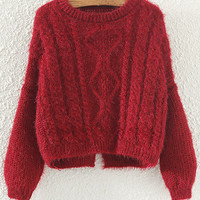 Burgundy  Knitted Cropped Sweater