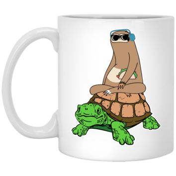 Sloth Riding Turtle Mug by Living You Co. | Sloth Coffee Mug, Sloth Riding Turtle Coffee Mug, Turtle Sloth Mug
