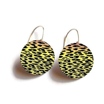 Leopard Earrings - FREE SHIPPING to USA sterling silver dangle earring dye sublimation animal print gifts for her  leopard jewelry metal