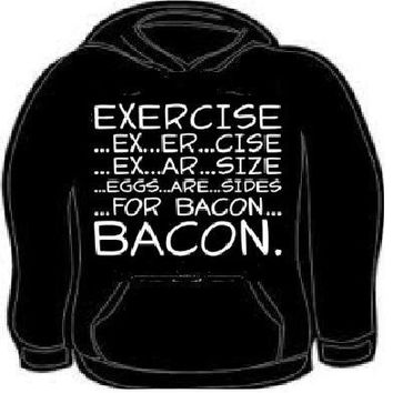 exercise bacon eggs hoodie sweat shirt unisex bacons eggs work out gym