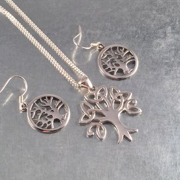 Celtic Tree of Life Necklace, Tree of Life Earrings, Tree of Knowledge, Sterling Silver Pendant, Gift Necklace