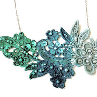 Lace Necklace Ombre Jewelry - Lace Jewelry Teal Green Moss Flowers - Lace Fashion