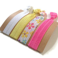 Elastic Hair Ties Spring Flowers No Crease Yoga Hair Bands