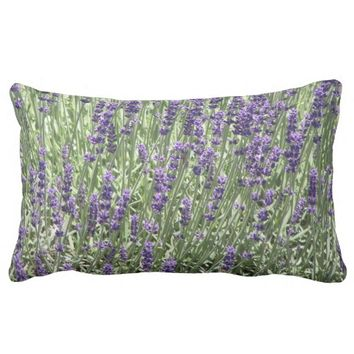 Lavender Field Floral Photo Lumbar Throw Pillow