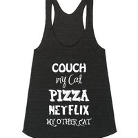 Couch Cat Pizza Netflix Other Cat-Female Athletic Tri Black Tank