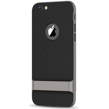 Jetech Case For Apple Iphone 6 Plus And Iphone 6s Plus Slim Protective Cover With Shock Absorption Carbon Fiber Design Grey