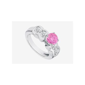 2 carat Engagement Ring center Pink Sapphire with CZ in 14K white gold 3.20 Carat TGW