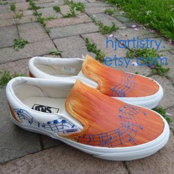 ESBONB Custom Painted Shoes Music Note Inspired Vans (Toms or Converse)
