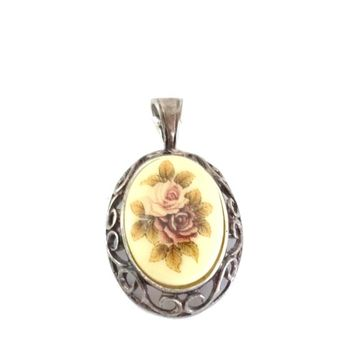 Porcelain  Cameo Roses Pendant in Sterling Silver Open Scroll Frame Hallmarked 925 Signed Italy