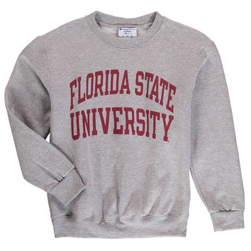 Champion Florida State Seminoles Youth Heather Gray Eco Powerblend Crewneck Sweatshirt