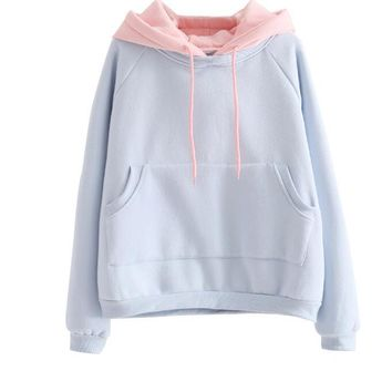 Japanese Korean students to increase loose velvet College solid wind thicker wild hooded Sweatshirt