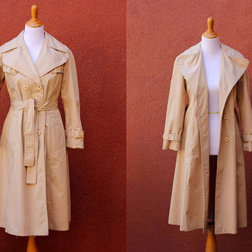 Vtg Princess Trench Coat belt taupe satin lined double breasted Small XS size 2-4 Petite tan maxi jacket khaki