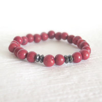 Cranberry Red Acai Beaded Bracelet with Hematite - Inspired by Nature - Natural Organic Seed, Tribal, Ethnic, Eco Friendly Jewelry