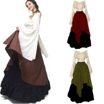 Women Medieval Dress Renaissance Red Vintage Style Off Shoulder Dress Women Cosplay Dresses Retro Long Medieval Dress Gown
