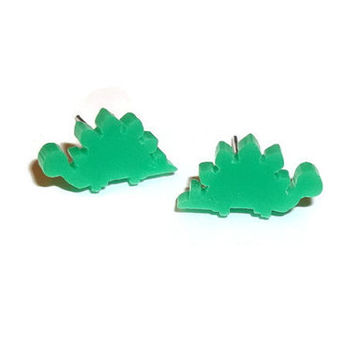 Stegosaurus Stud Earrings, Kawaii Green Tiny Laser Cut Studs, Cute Dinosaur