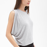 FOREVER 21 Pleated Boxy Top Grey